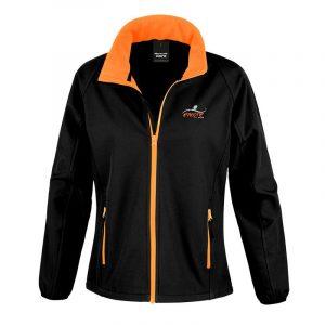 Ladies Black & Orange Softshell Jacket